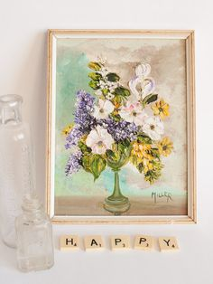 Small vintage floral oil painting still life posy by freshdarling