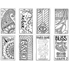 Coloring books and coloring pages for grown ups. Bliss Breather Mini Coloring Book - Volume 2. This mini coloring book is available as a PDF download along with 3 other books (currently). Don't have time to color a large coloring page? No worries...take a breather and color one of these lovely hand drawn designs!