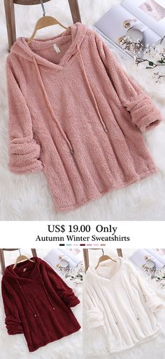 Fleece Hooded Solid Color Long Sleeve Sweatshirt can show the feminine elegance well, get best women Hoodies & Sweatshirts online. Winter Stil, Fashion Outfits, Womens Fashion, Winter Outfits, What To Wear, Winter Fashion, Creations, Couture, Clothes For Women