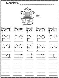 Spanish Resources - Spanish Kindergarten - students trace all Initial Syllables and color the matching picture.