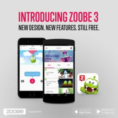 Breaking news! The whole Zoobe team has been working really hard to bring you today this update: say hi to the new Zoobe 3! New design, new features, still free! <3 #Zoobe #new #free #app #application #messages #video #unique