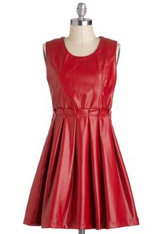 Face Your Fierce Dress - Faux Leather, Short, Red, Solid, Exposed zipper, Pleats, Party, A-line, Sleeveless, Girls Night Out, Statement, Urban