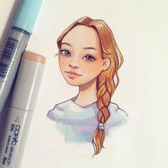 Одна девочка из #drawmelera получилась непохожая сама на себя, потому не буду подписывать, чтобы не обижать) да, и тут небольшой эксперимент: маркеры+диджитал