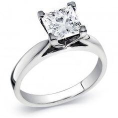 14k Gold Princess Diamond Solitaire Ring 0.90 carat