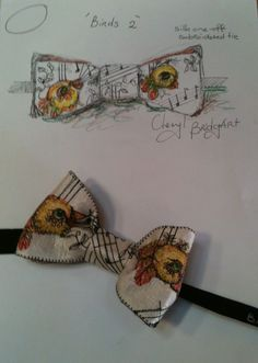 Cheryl Bridgart's 'Birds 2' one-off embroidered silk man's bow tie