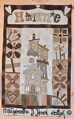 Wall hanging quilt HOME my lovely place von MJJenekdesigns