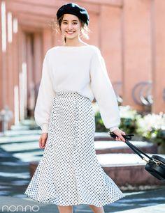 新木優子が着る★この春、盛れるのは水玉模様の揺れスカート!|non-no Web|ときめくおしゃれを毎日GET! Ol Fashion, Japan Fashion, Modest Fashion, Korean Fashion, Fashion Outfits, Womens Fashion, Grunge Style, Soft Grunge, Tokyo Street Fashion