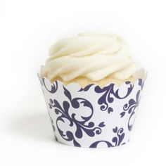 Navy Blue Filigree Cupcake Wrappers- Cupcakewrappers.ca