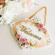 パウダーローズプレートウエルカム/ドアプレート薔薇雑貨姫系雑貨インテリア表札ピンクかわいい