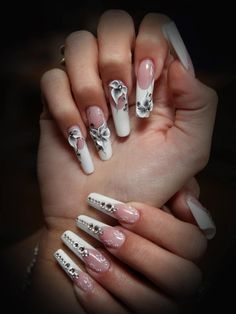 white - french - floral - bling - wedding - nail art