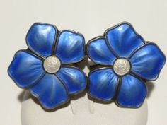 Vintage Norway Norwegian Sterling Silver 925s Blue Enamel Flower Frooch Pin | eBay