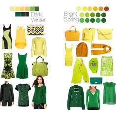 """Dark Winter vs Bright Spring - Yellows and Greens"" by thewildpapillon on Polyvore"