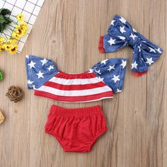 Blue Stars Red Striped Swimsuit With Matching Headband from kidspetite.com! Adorable & affordable baby, toddler & kids clothing. Shop from one of the best providers of children apparel at Kids Petite. FREE Worldwide Shipping to over 230+ countries ✈️ www.kidspetite.com #infant #beach #baby #girl #swimsuit #swimwear #swim #newborn 4th Of July Outfits, Kids Outfits, Baby Girl Swimwear, Off Shoulder Crop Top, Striped Swimsuit, Crop Top And Shorts, Outdoor Wear, Two Piece Swimsuits, Girls 4