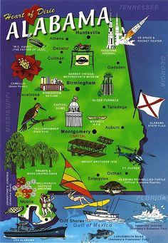 Alabama ~ Heart of Dixie (map card) | Flickr - Photo Sharing!