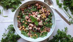 Salada de polvo com grão