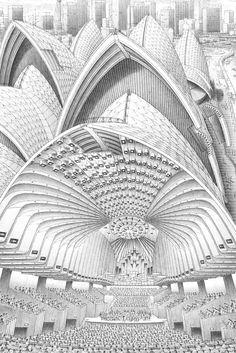 Stephen Biesty - Illustrator - Inside-out Views_Sydney Opera House