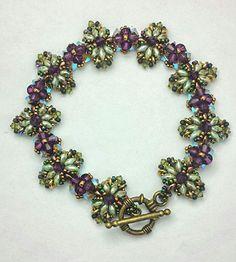 B152066 Chrystal Charisma 11/0, 15/0 seed beads; 3 mm, 4 mm Swarovski crystal bicones; SuperDuo beads; O-beads