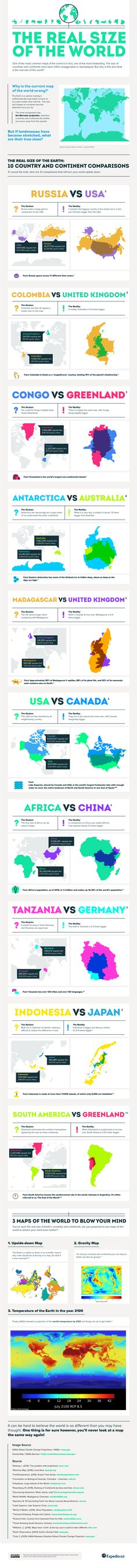 The Real Size Of The World #Infographic #Travel
