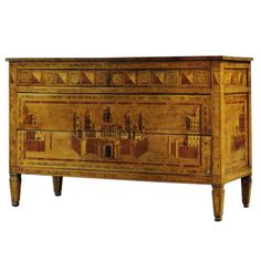 A Rare Matched Pair Of Perspectival Marquetry Commodes | From a unique collection of antique and modern commodes and chests of drawers at http://www.1stdibs.com/furniture/storage-case-pieces/commodes-chests-of-drawers/
