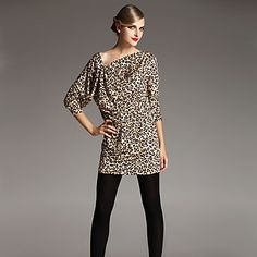 Leopard Long Sleeve Fitted Dress