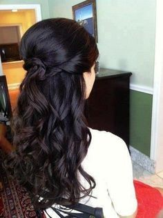 long dark curly half up wedding hair @ Wedding-Day-BlissWedding-Day-Bliss