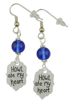 "Unique Creations — Howl Ate My Heart Earrings.... Inspired by Howl's Moving Castle These earrings read ""Howl Ate My Heart"". The bead at the top is Sapphire Blue to match Howl's eyes and Sophie's dress. If you are a fan of the movie or Studio Ghibli in general then these earrings are a must have."