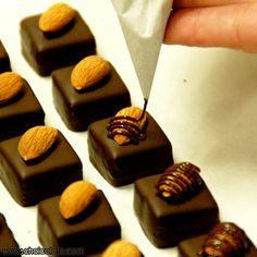 All hand-crafted artisan chocolate. Chocolate Work, Chocolate Shop, Chocolate Molds, How To Make Chocolate, Chocolate Truffles, Homemade Chocolate, Almond Chocolate, Chocolate Making, Chocolate Candy Recipes