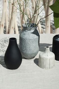 We love ceramics! Decorate with pots and vases in natural, stone-like textures! @April and May | H&M Home
