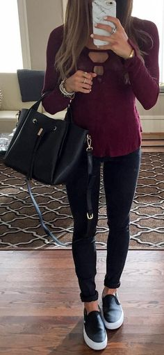 #winter #fashion / Burgundy Knit + Black Jeans + Black Sneakers