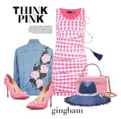"""Think Pink"" by metter1 ❤ liked on Polyvore featuring Love Moschino, Charlotte Olympia, Moschino, Maison Michel and ginghamdress"