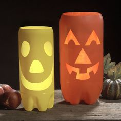 Plastic Pumpkin Luminaries  Instead of throwing away your empty 2-liter soda bottles, recycle them into these fun pumpkin luminaries to light up your Halloween this year. http://www.krylon.com/projects/holiday-seasonal/plastic-pumpkin-luminaries/index.jsp