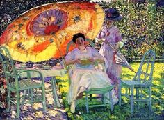 Frederick Carl Frieseke (1874 – 1939) - American Impressionist painter who spent most of his life as an expatriate in France. An influential member of the Giverny art colony, his paintings often concentrated on various effects of dappled sunlight.