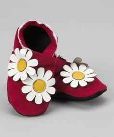 Take a look at this Pink Double Daisy Booties by Augusta Baby on #zulily today!