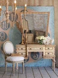 Pretty Shabby Chic Home Decor Old Chandelier, Chandeliers, Ikea, Vintage Vanity, French Vanity, French Dresser, Safari Nursery, French Decor, French Chic