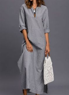 Stripe Pockets Sleeves Maxi Shift Dress Dress – Striped Sleeves and Maxi Dress Linen Dresses, Modest Dresses, Casual Dresses, Fashion Dresses, Summer Dresses, Maxi Dresses, Shift Dresses, Shift Dress Outfit, Casual Outfits