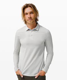 Black, size L Long Sleeve Henley, Long Sleeve Polo, Long Sleeve Shirts, Golf Shirts, Latest Fashion Trends, Evolution, Lululemon, Sleeves, Mens Tops