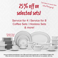 25% off selected sets and serving pieces! Shop now for Thanksgiving! Details in the image. http://noritakechina.com/value-sets-for-thanksgiving.html