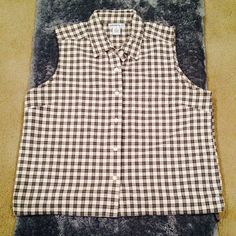 Sleeveless Plaid Shirt Used | Great Condition | Sleeveless | Black & White Plaid Design | Button Up | Collar | 100% Cotton | Trades | Feel Free to Ask Questions | More  Upon Request | Bundles & Offers are Welcomed ❤️| Galyan's Tops