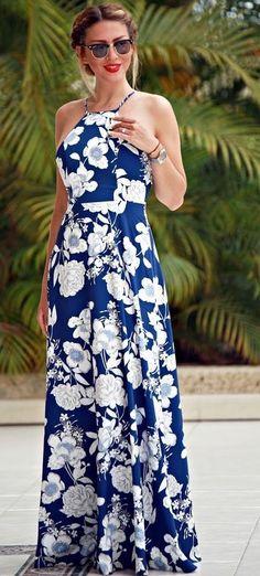 Blue Floral Maxi Dress                                                                             Source