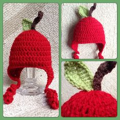 Newborn crocheted apple hat by AlannaMichelle on Etsy, $23.00