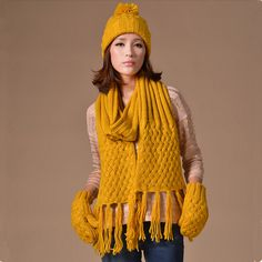 Fringe knit hat scarf and gloves set for women winter wear