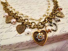 Vintage Heart Charm Assemblage