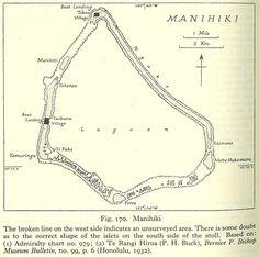 Karte (1943) Manihiki ist die Spitze eines Unterwasserberges, der sich 4000 m über den Meeresgrund erhebt. Die 4 km breite Lagune wird von 40 winzigen Riffinseln (Motus) mit insgesamt 5,4 km² Fläche umsäumt. Das Riff ist gut zum Schwimmen und Schnorcheln geeignet. Die Insel wird als eines der besten Tauchgebiete der Region angesehen. Eine Erlaubnis dazu muss in dem Dorf Tauhunu beschafft werden. Das offene Meer ist ein gutes Fischgewässer, unter anderem werden Bonitos gefunden. Cook Islands, Islas Cook, Snorkeling, Pisces, Island, Swimming, Lace