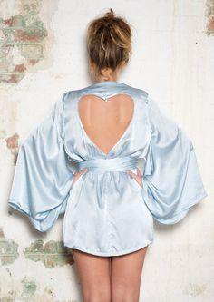 ETSY SALE - LIVIA  Silver Blue silk kimono Robe  with heart cut out- light blue sleepwear lingerie