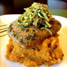 Zucchini Soy Sauté over Worcemustard Pork Chop & Sweet Potato Mash: Pork Chop marinade found at end of recipe. While pork chop is baking at 350, boil 1 sweet potato. I keep on skin, cut of ends and cut into 1 inch thick rounds. Boil until soft when touched w/ fork. Drain water, mash by hand adding a pad of organic butter, coconut milk until desired consistency, cracked sea salt and cinnamon. Julienne 1/2 small zucchini, half small yellow squash and teeny red onion. StirFry over high heat…