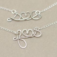 love letter initial necklace. lovers personalized initials. tiny heart. sterling silver wire NECKLACE.. $39.00, via Etsy.