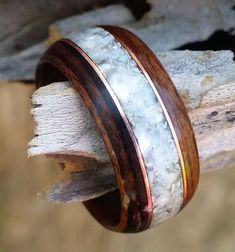 rosewood bent wood ring with real pearl and by perkinswoodwork