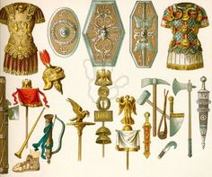 Roman arms and armor: Top row (from left to right): general's armor, shields (three of them), armor with badges of honor. Bottom row (from left to right): fasces, legion's standard and trumpet, foot covering, general's helmet, sacrifical ax, finger ring (two of them), legion's standard (three of them), sword, hammer, ax, sling, sacrifical knife, knife, sacrifical axe, sword