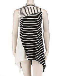 Women's Plus Size Splice Stripe Color Block Top
