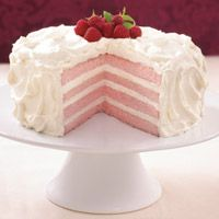 Raspberry-Champagne Cream Cake.  Pink & White Perfection.
